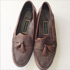 Cole Haan Brown Leather Basket Weave Loafe…